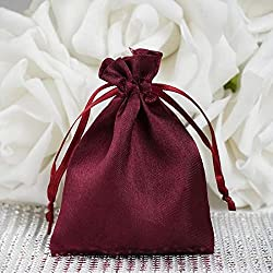 "Efavormart 60PCS Burgundy Satin Gift Bag Drawstring Pouch Wedding Favors Bridal Shower Candy Jewelry Bags - 3""x4"""