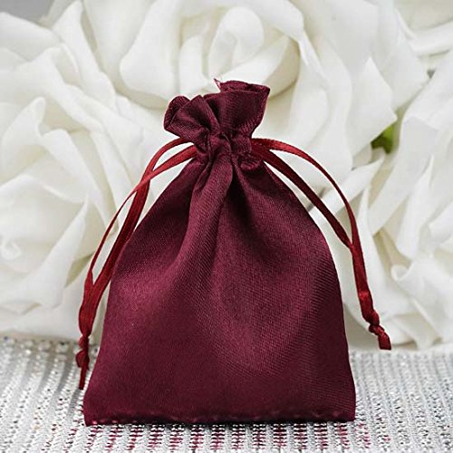 (Efavormart 12PCS Burgundy Satin Gift Bag Drawstring Pouch Wedding Favors Bridal Shower Candy Jewelry Bags -)