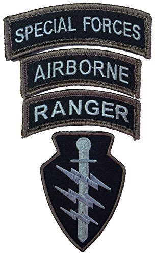 Patch Squad Men's Special Forces Ranger Airborne Morale 4 PC Set Patch (Black/Tan) (Special Ops Gear compare prices)