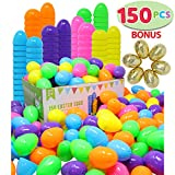 144 Pieces 2 3/8'' Easter Eggs + 6 Golden Eggs for Filling Specific Treats, Easter Theme Party Favor, Easter Eggs Hunt, Basket Stuffers Filler, Classroom Prize Supplies by Joyin Toy