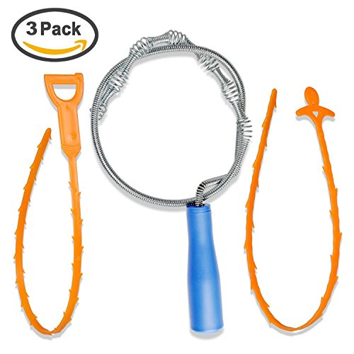 3 pack Drain Snake Hair Clog Remover, Drain Snake Tool Cleaning Tool Kit for Kitchen Sink Bathtub Shower (1 Pack Drain Snake Clog Remover + 2 Pack Drain Relief Tool) [Energy Class A+++++]