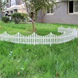 Garden Landscaping & Decking Construction & Building Materials - 33cm Plastic White Plug In Fence Garden Decoration Fence