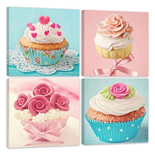 Shuaxin Modern Home Decor Kitchen Wall Art Delicious Cup Cake Paintings on Canvas Home Decor Wall Decals 12*12 X4pcs Framed with -