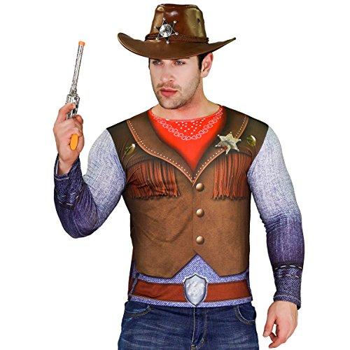 Men's Cow Boy Girls Halloween Long Sleeve T-shirt (X-large) (Gunfighter Halloween Costume)
