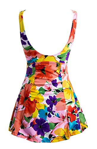 c301a0d7393b Wantdo Women's Floral Swimdress Modest Swimwear Slimming Push Up Skirtini  Swimsuit