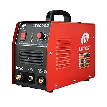 "Lotos LT5000D Plasma Cutter 50Amps Dual Voltage Compact Metal Cutter 110/220V AC 1/2"" Clean Cut"