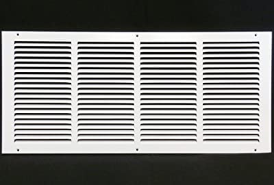 """24""""w X 8""""h Steel Return Air Grilles - Sidewall and Ceiling - HVAC DUCT COVER - White [Outer Dimensions: 25.75""""w X 9.75""""h]"""
