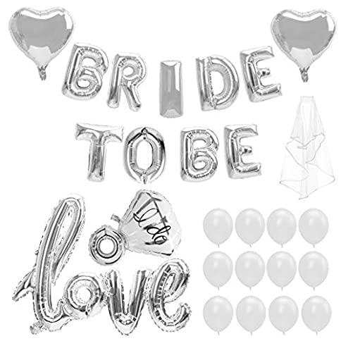 - 51VD5rjHPNL - Bride to BE Balloon, 28Pcs, Latex Baloons for Bridal Shower Bachelorette Party Decor Kit(Silver)