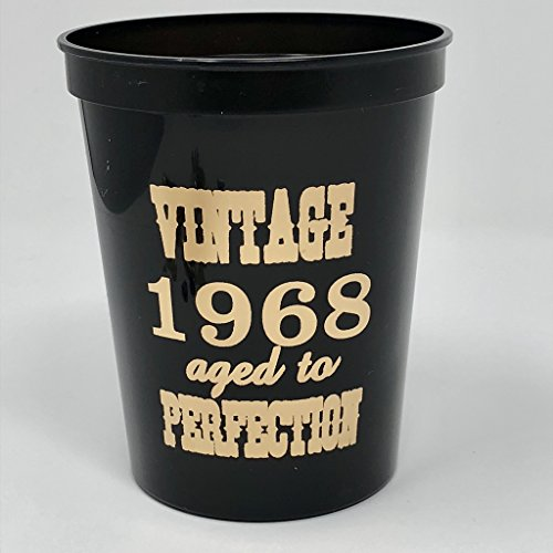 50th Birthday Cups, Vintage 1968 Plastic Cups, Set of 10, 50th Birthday Party Cups Black and Gold, 50th Birthday Decorations by J & B Enterprises