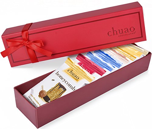 Chocolate Gift Set - Chuao Chocolatier Dark Mini Chocolate Bars 8 Piece Gift Set (.39 oz mini bars) - Best-Selling Variety Pack - Gourmet Artisan Dark Chocolate Assortment - Free (Chocolate Basket Set)