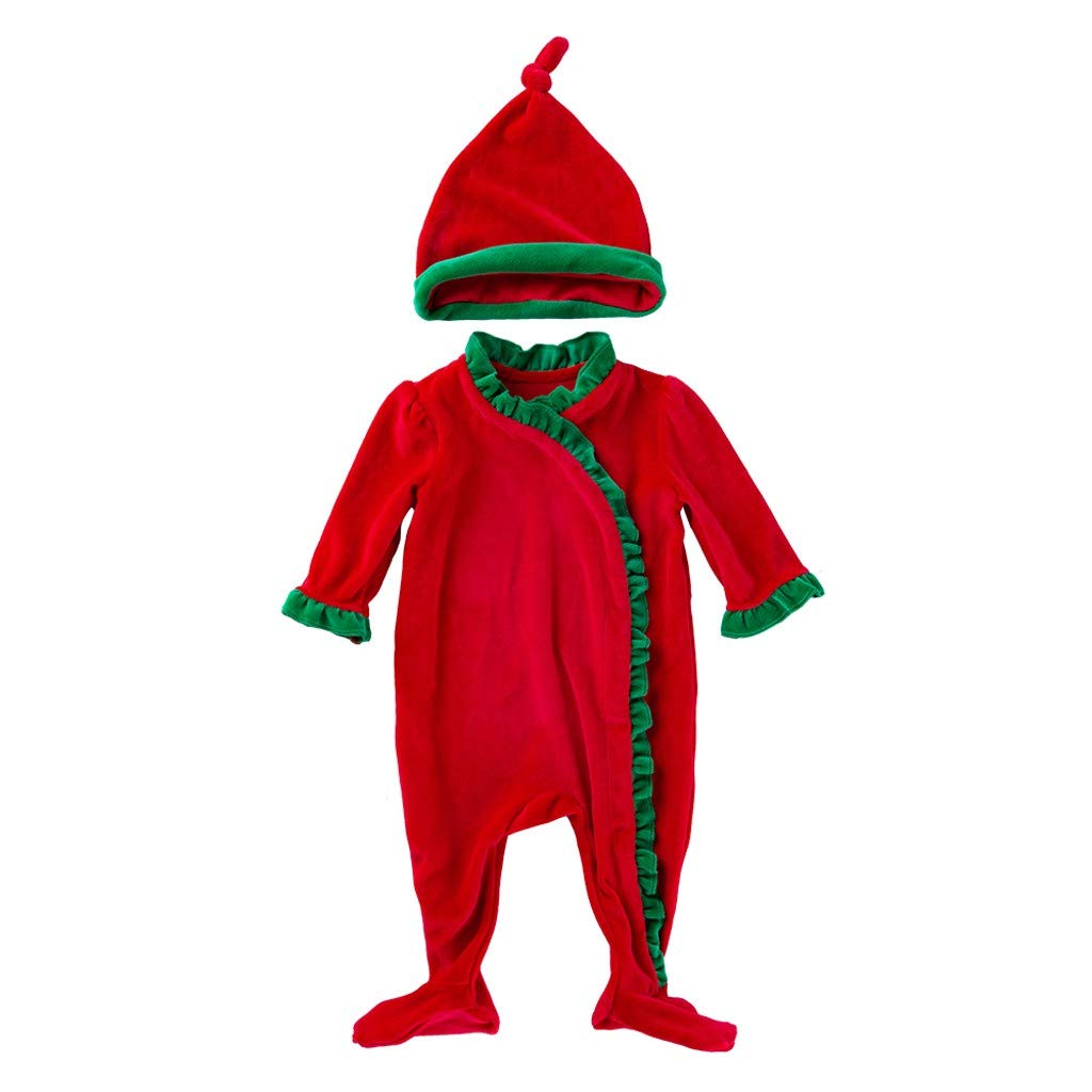 Zlolia Infant Baby Boys Girls Solid Patchwork Ruffled Long Sleeve Jumpsuit + Hat Christmas Clothing Set Red by Zlolia-Christmas