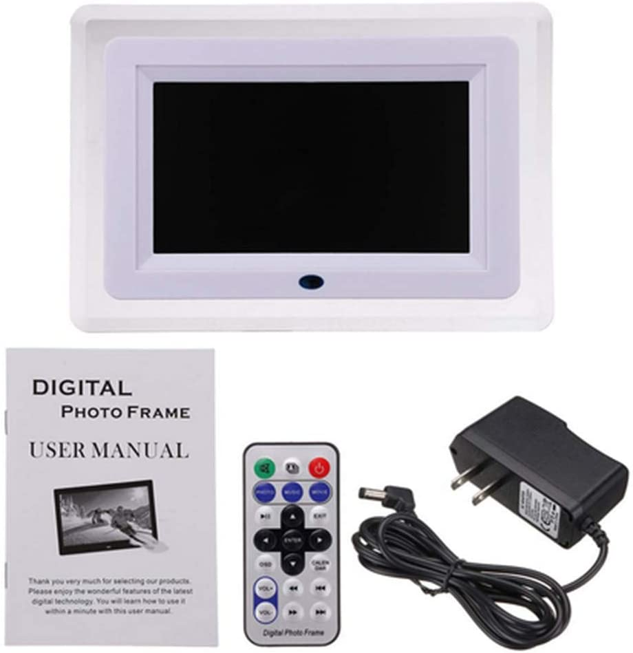 E-Book USB and SD Card Slot Calendar Digital Photo Frame 7 inch,480234 HD IPS Wide Viewing Angle 16:9 Electronic Picture Video with LED Light,MP3 Remote Control
