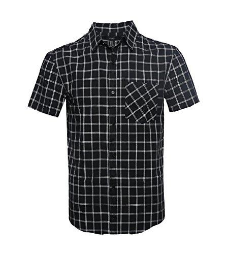 Gilbeti Mens Casual Short Sleeve Linen Cotton Windowpane Plaid Shirt Black 2Xl