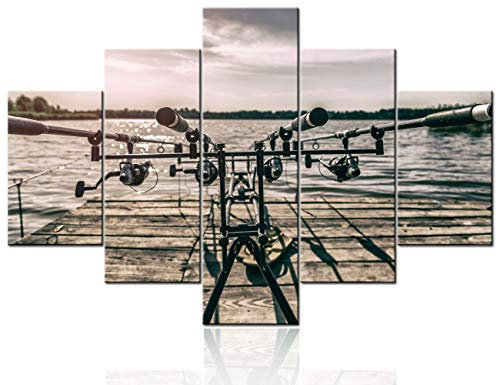 Fish Art Wall Decor Fishing Rod and Reel Pictures Landscape Paintings Multi Panel Printed on Canvas Contemporary Grey Artwork Living Room House Decorations Framed Stretched Ready to Hang(60''Wx40''H)