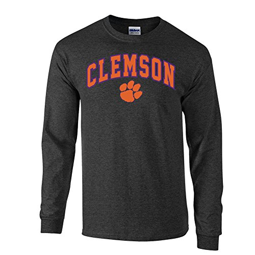 Elite Fan Shop NCAA Men's Clemson Tigers Long Sleeve Shirt Dark Heather Arch Clemson Tigers Dark Heather X Large
