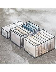 6/7/9 Grids Jeans Compartment Storage boxesWashable Wardrobe Clothes Organizer,Foldable Closet Drawer Organizer Clothes Drawer Mesh Separation Box