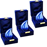 Keepsake Urns Set of 3 - Cremation Urn by Meilinxu -Brass Mini Funeral Urns for Human Ashes Adult - Fits a Small Amount of Cremated Remains-Display Burial Urn at Home or Office (Blue Tears Baby Urn)