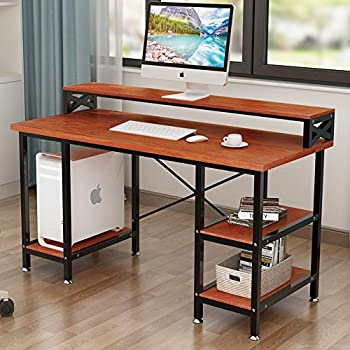 Amazon Com Tribesigns Computer Desk With Storage Shelves