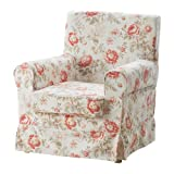 IKEA Ektorp Jennylund Armchair Cover BYVIK Pink and Beige Floral Chair Slipcover 102.240.90