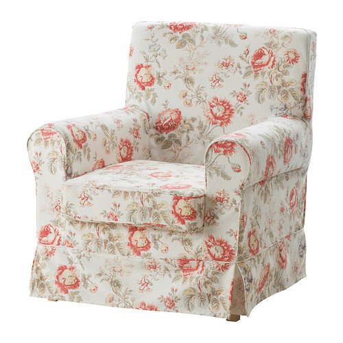 IKEA Ektorp Jennylund Armchair Cover BYVIK Pink and Beige Floral Chair Slipcover 102.240.90 (Ikea Chair Slipcover)