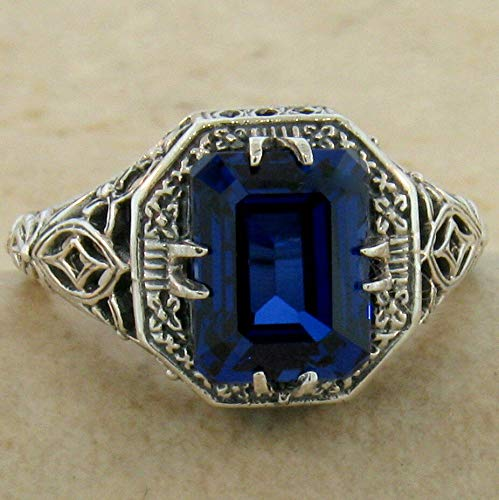 - Antique Deco Style 925 Sterling Silver SYN Sapphire Ring Size 6 KN-3858