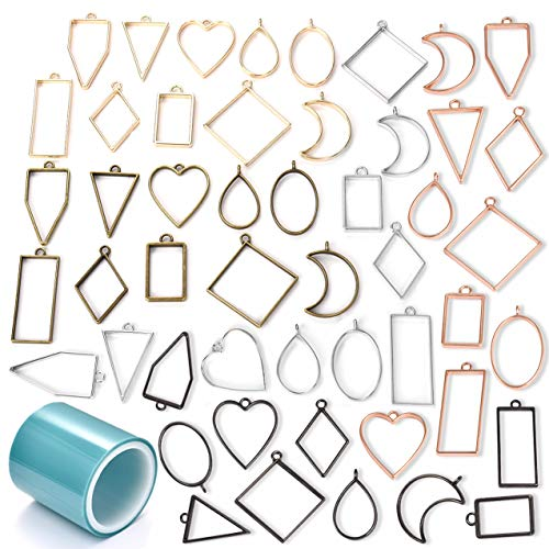 Open Bezel Pendants Charms Resin Molds for Jewelry Findings DIY Pressed Flower Frame Assorted Geometric Hollow Trays 50pcs, 1pcs Seamless Tape