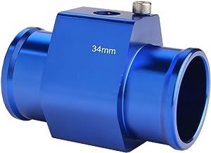 Dewhel Aluminum Blue Water Temp Meter Temperature Gauge Joint Pipe Radiator Sensor Adaptor Clamps 34mm