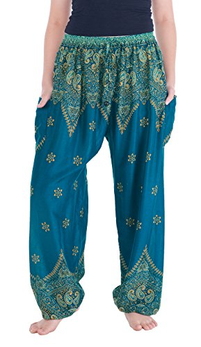 Yoga Meditation Pants (Lannaclothesdesign Women's Boho Yoga Peacock Drawstring Thai Harem Pants (L, Teal Peacock Flower))