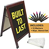 Sandwich Board Sidewalk Chalkboard Sign: REINFORCED, HEAVY-DUTY / 10 CHALK MARKERS / 40 PIECE STENCIL SET / CHALK / ERASER / DOUBLE SIDED / LARGE 40x23 Chalk Board Standing Sign A-Frame (Cherry)