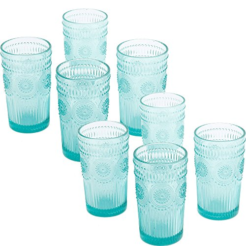 The Pioneer Woman Adeline 16-Ounce Emboss Glass Tumblers, Set of 4, Turquoise - 2 - Turquoise Glasses