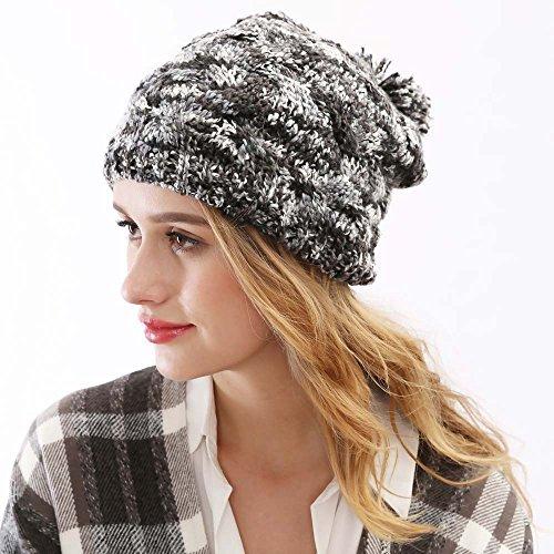 Bola 1 la Las Sombreros Maozi Hilado Knit con señoras Casco del del señoras Sombrero Moda 2 del Invierno Americanas Las 8wAxq