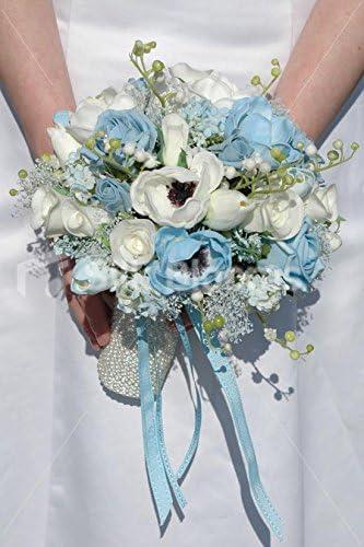 Bouquet Sposa Azzurro.Bouquet Da Sposa Bianco E Azzurro Anemone Rosa E Tulipano Amazon