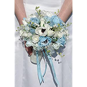 White & Light Blue Anemone Rose & Tulip Bridal Wedding Bouquet 106