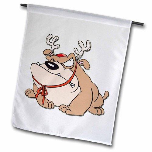 3dRose fl_160452_1 English Bulldog with Reindeer Horns Garden Flag, 12 by 18