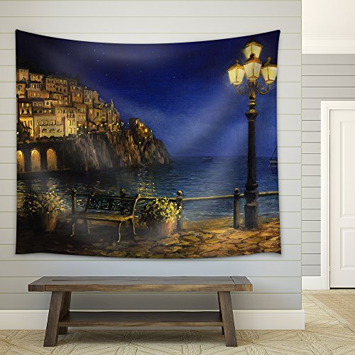 an Oil Painting of a Starry Romantic Evening at The Coast of Amalfi in Italy Fabric Wall