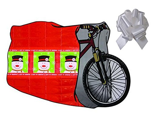 """Enchanted Forest Christmas Bike Bag with Bow - 40"""" W X 80"""" L (Snowman Red)"""