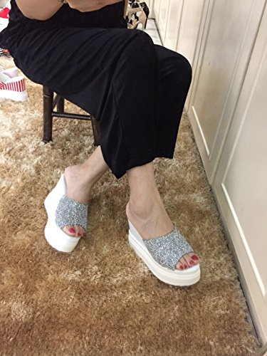 de palabra genial tacon agua zapatilla grueso Taladro Plateado moda 11 centimetros una de XiaoGao fondo alto Pfxtqvww