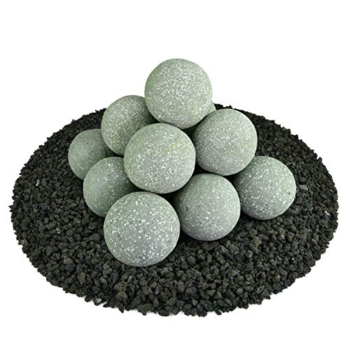 Ceramic Fire Balls | Set of 14 | Modern Accessory for Indoor and Outdoor Fire Pits or Fireplaces - Brushed Concrete Look | Pewter Gray, Speckled, 4 Inch