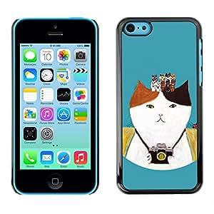 LASTONE PHONE CASE / Carcasa Funda Prima Delgada SLIM Casa Carcasa Funda Case Bandera Cover Armor Shell para Apple Iphone 5C / Cool Photo Camera Photography Kitten Cat