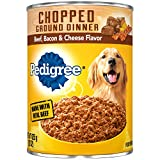 Pedigree Chopped Ground Dinner Beef, Bacon & Cheese Flavor Adult Canned Wet Dog Food, (12) 22 oz. Cans