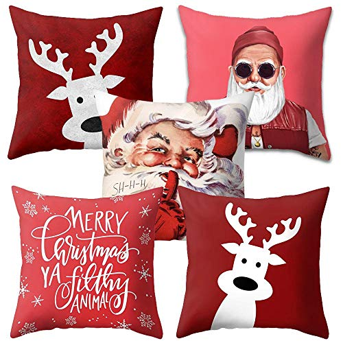 Volwco Christmas Throw Pillow Covers,Square Polyester Fall Decorative Couch Pillow Cases Pillow,Throw Pillow Case Cushion Cover Set of 4 for Sofa, Couch, Bed and Car Decorations 18x18 Inch (Cushion Reindeer)