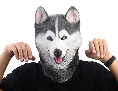 PARTY STORY Siberian Husky Dog Latex Animal Head Mask Novelty Costume Rubber Masks Gray -