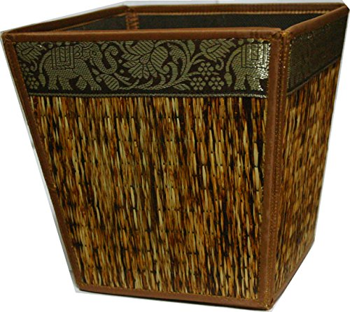 TOPMOST N-9103, Handmade Thai Woven Straw Reed Wicker Square Waste Basket with Silk Elephant Design, Brown by Topmost