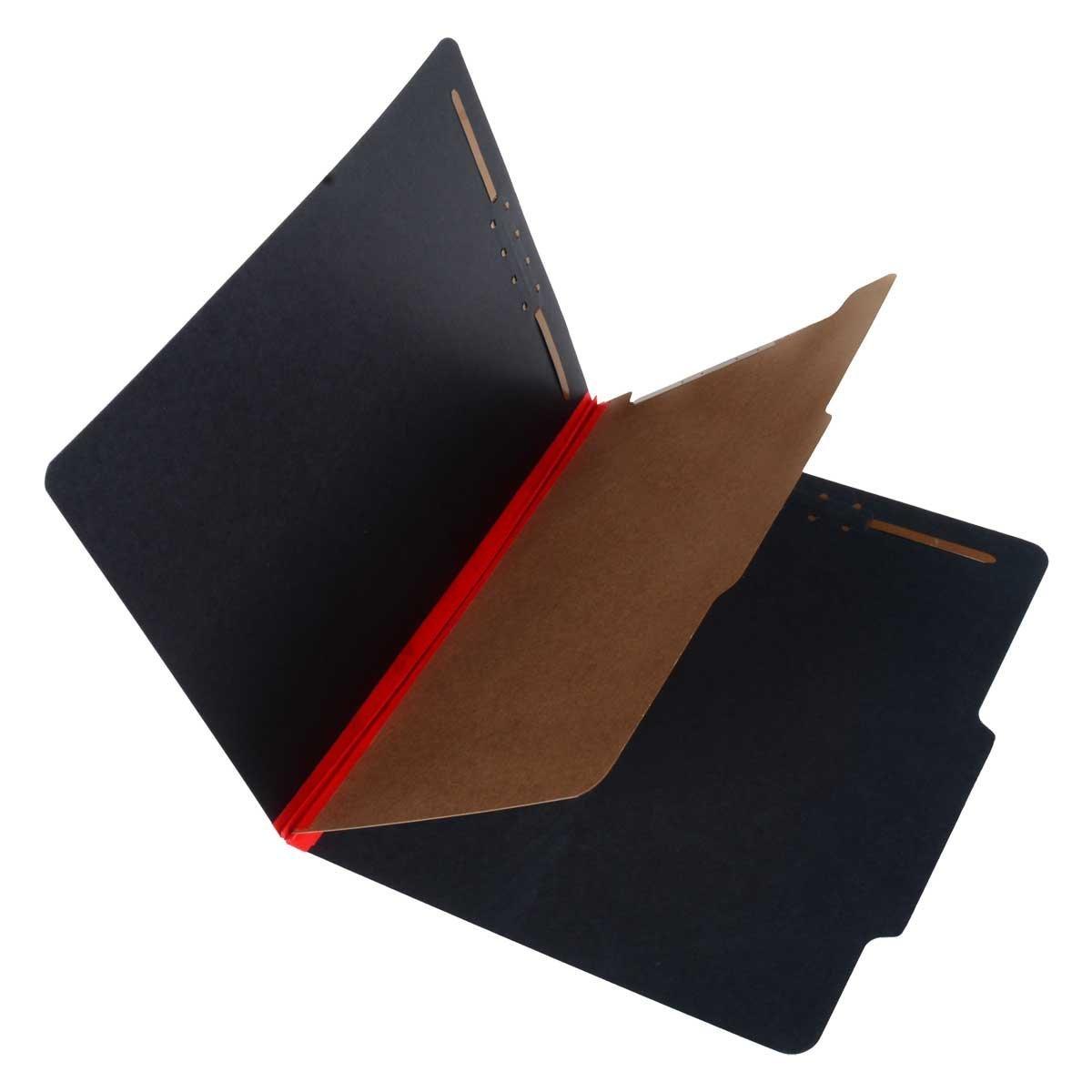 SJ Paper S62611 Match 25 Pt. Fusion Black Pressboard Classification Folders, 2/5 Cut ROC Top Tab, Letter Size, 1 Divider, Red tyvek (Box of 20)