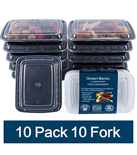 Buy Bargain Green Bento Meal Prep Containers with Lids Plastic Food Storage Bento Lunch Box, Portion...