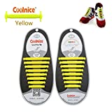 Coolnice® No Tie Shoelaces for Adults DIY 16pcs - Environmentally safe silicone - Lazy Shoestrings - Color of Yellow