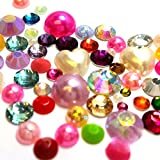 Resin crystal Mixed Color shape Assorted Rhinestones Flatback Faux Pearl samples from GreatDeal68