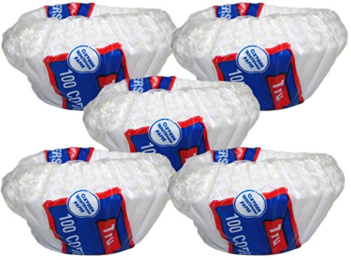 Set of 500 Disposable Basket Type 10-12 Cup Paper Coffee Filters Flat Bottom (500)
