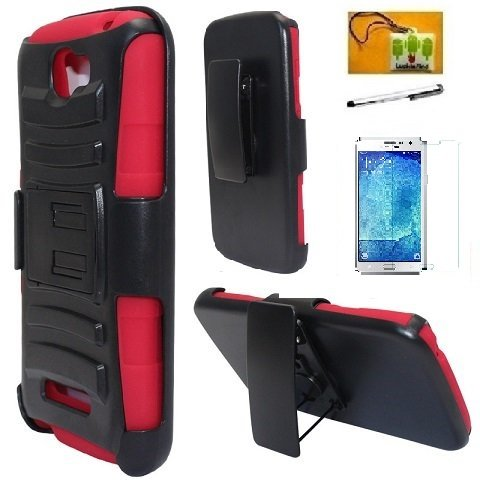 Alcatel One Touch Fierce 2 7040T / Pop Icon A564C Case, LF Hybrid Armor Stand Case with Holster and Locking Belt Clip, Stylus Pen, Screen Protector & Wiper Accessory (Holster Red)