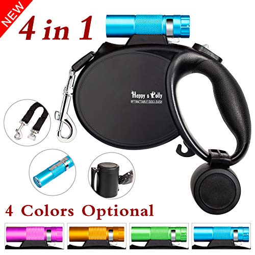 Happy & Polly 4 in 1 Dog Leash Retractable Dog Leash 16.4 ft Dog Walking Leash with Flashlight Detachable/Protective Bungee Leash/Magic Box Dispenser Poop Bags for Small Medium Dogs, Blue (Leash Retractable Dog Flashlight)